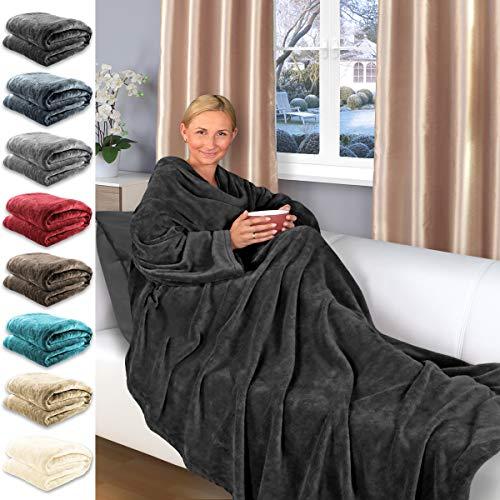 Gräfenstayn Coperta TV con Maniche - 200 x 150 cm - Coperta coccolone - Molti Colori - Pile in Microfibra di Flanella Supersoft - con Sigillo Oeko-Tex Fiducia certificata (Nero)