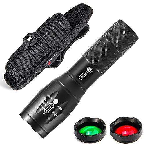ULTRAFIRE Linterna Táctica de Luz Verde Roja Blanca Zoomable 900 Lúmenes 5 Modos Linterna Caza LED Visión Nocturna, con Funda de Linterna, Enfoque Ajustable, Lente Intercambiable