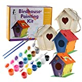 DIY Kids Birdhouse Kit, Build Your Own Kids Birdhouse Kit, Includes 4 Large Unfinished Paintable and Buildable Birdhouses (6.9ft x 4.6ft x 6.6), strings, 12 paints, glitter paint and 2 brushes