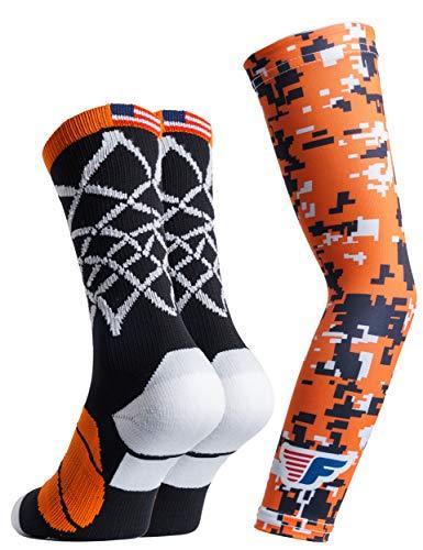 Youth Boys Basketball Socks Sports Athletic Crew Socks with Basketball Arm Sleeve - Made in USA (Net Black/Orange, Youth (US 6-11))