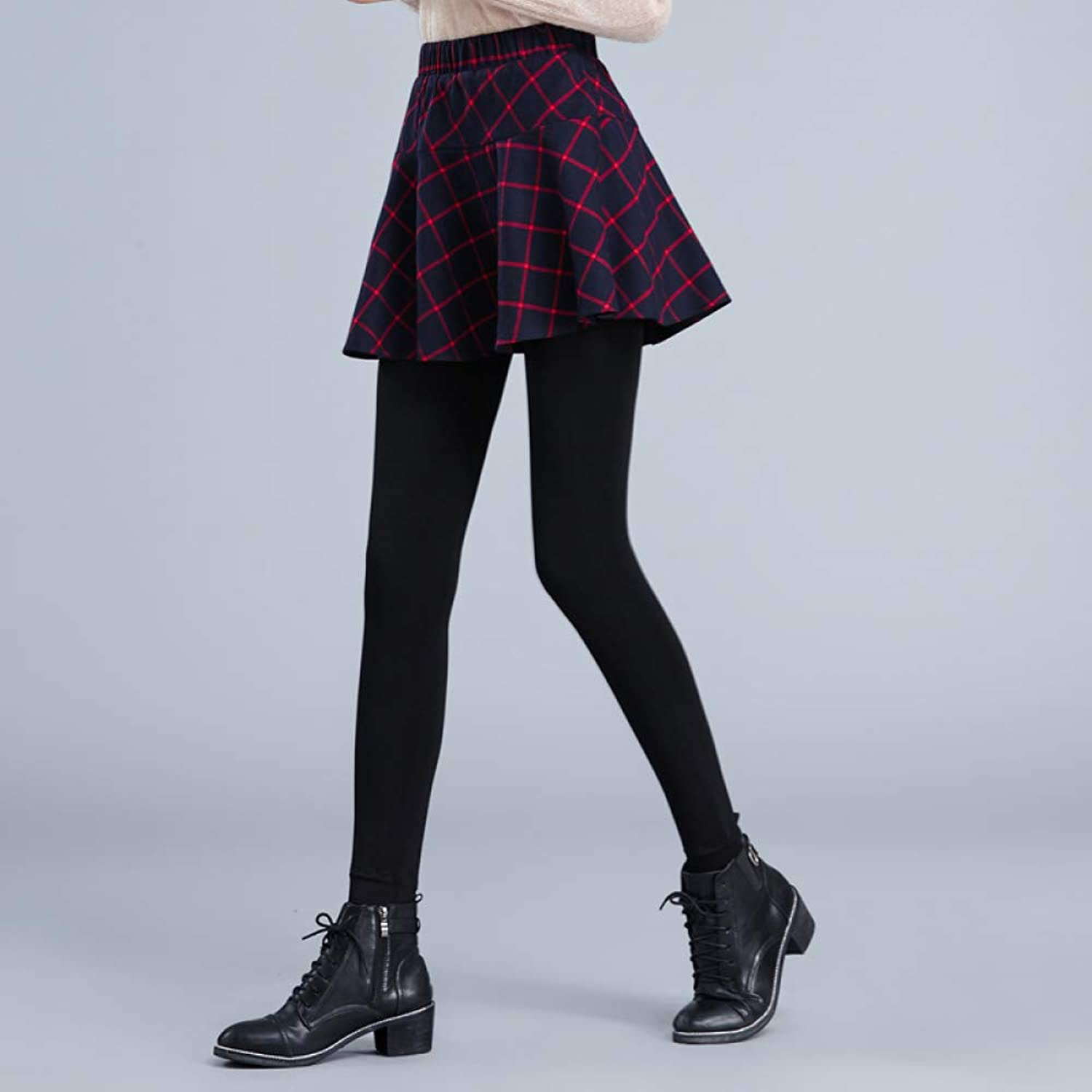 Winter Lady Skirt Two Pieces Leggings Women's Skirts Wear Thin Warm Plus Velvet Thickening Stepping Foot Bag Hip Pants CTO