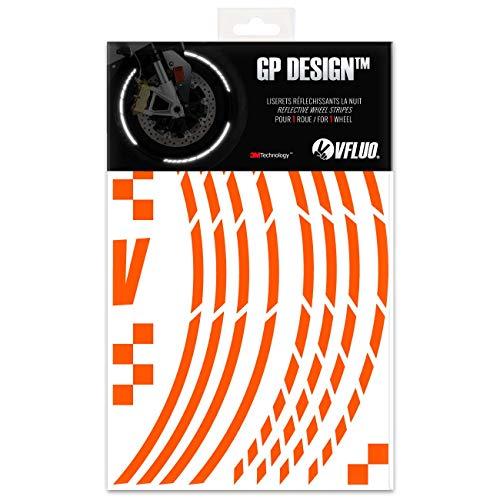 VFLUO GP Design™, Kit Bandes Jantes Moto rétro réfléchissantes (1 Roue), 3M Technology™, Liseret Largeur Normale : 7 mm, Orange