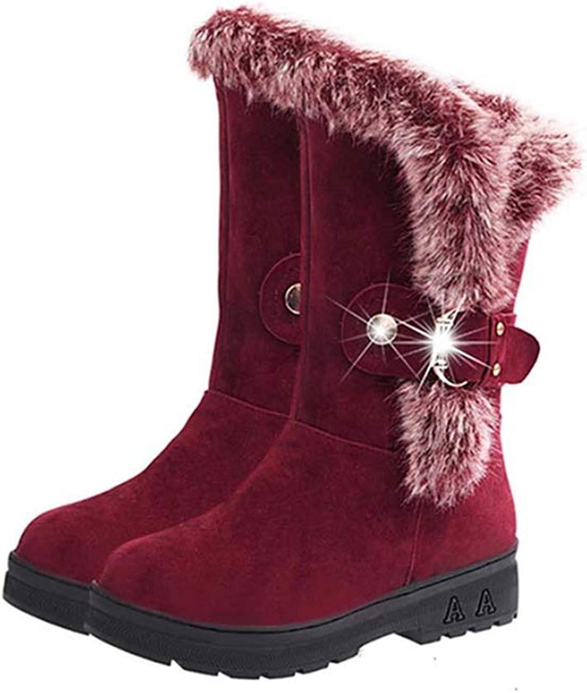 Women's Fashion Faux Fur Warm Short Plush Lined Plus Velvet Winter Mid-Calf Snow Boot