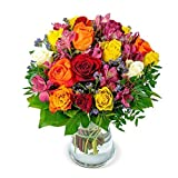 Blumenstrauß Farbtraum, Bunter Blumenstrauß, 7-Tage-Frischegarantie, Qualität vom Floristen, bunte Rosen, Alstroemerien, GRATIS-Vase, perfekte Geschenkidee, versandkostenfrei bestellen