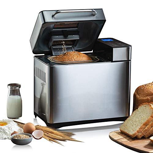 Meykey - Macchina per il pane con 19 programmi per 500 g - 1000 g di peso del pane, 710 W, funzione timing, funzione di mantenimento del calore, finestra e schermo LED