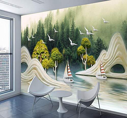 3D Tapete Geprägte Tapete Natur Malerei Berg Vogel Boot Wandbilder Papier Tapeten Für 3 D Kinder Wohnzimmer Art-150 * 105 Cm