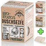 Bio Duschseife mit Seifensäckchen ohne Plastik und Palmöl (Kokos)