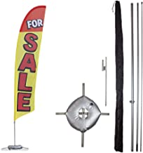 Vispronet Premium for Sale Feather Flag Kit – Includes 13ft Sectional Aviation Grade Fiberglass Poles, for Sale Flag, Cross Base, Weight Bag, Ground Spike, and Pole Sleeve Bag