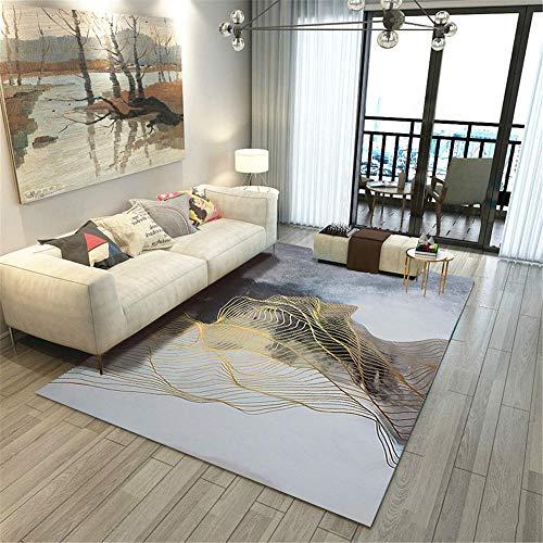 Xiaosua Rugs Washable grau Teppich Wohnzimmer Graues Netz Abstraktes Muster Langlebiger Teppich Waschbar Teppich klein 160X230CM Carpet Living Room 5ft 3''X7ft 6.6''