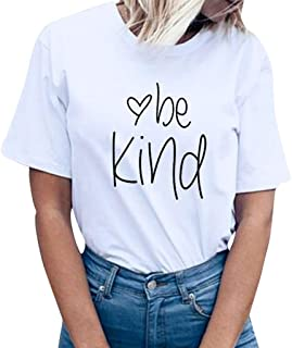 SADUORHAPPY Be Kind T Shirts Women Cute Graphic Blessed Shirt Funny Inspirational Short Sleeve Summer Fall Tees Tops