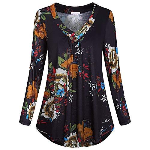MRULIC Women Casual Color Block Long Sleeve V Neck Tunic T-Shirt Blouse Tube Tops Blouse (UK-10/CN-S, Z1-Black)