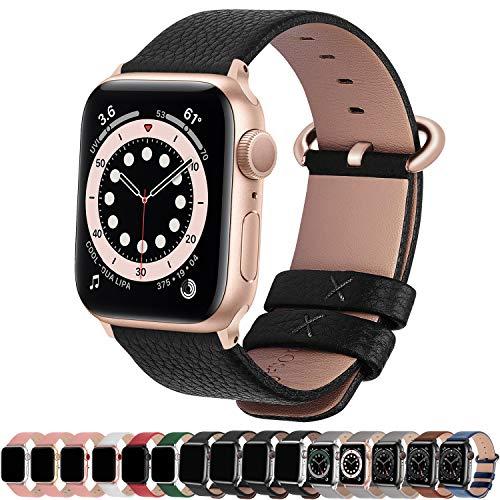 Fullmosa Correa de Apple Watch, 38 mm 40 mm 42 mm 44 mm Correa Compatible con iWatch, Correa de Cuero, Compatible con Apple Watch SE y Serie 6 5 4 3 2 1, Negro + Hebilla de Oro Rosa, 42mm/44mm