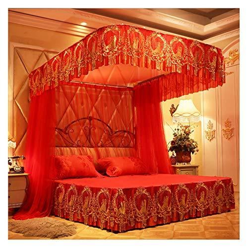 Myggnät för sängen Retro säng Netting Canopy för tjejer, broderad spets tält topp, U-formad dubbla remskiva glidande guide Canopy säng gardiner - lätt att montera (Size : For 1.5m/5 feet bed)