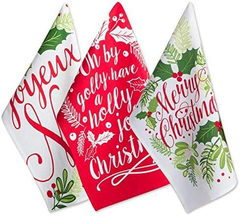 DII Christmas Dishtowel Decorative Oversized Set of 3 Holly product image