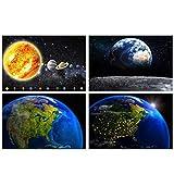 GREAT ART® Juego de 4 carteles con motivos infantiles | Din A2 - 42 x 59,4 | Vista de América del espacio | Planetas del sistema solar Vista | Cuadros para niños decoración póster