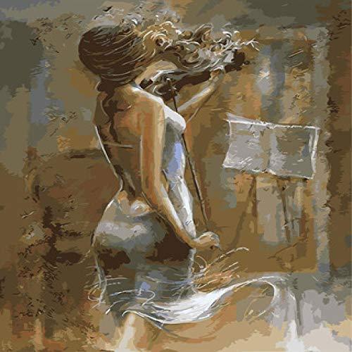 DIY digitale olieverfschilderij olieverfschilderij met de hand beschilderd woonkamer achtergrond muur landschap kleurplaten decoratie cadeau 40X50 meisje spelen viool Frameloze 40x50cm