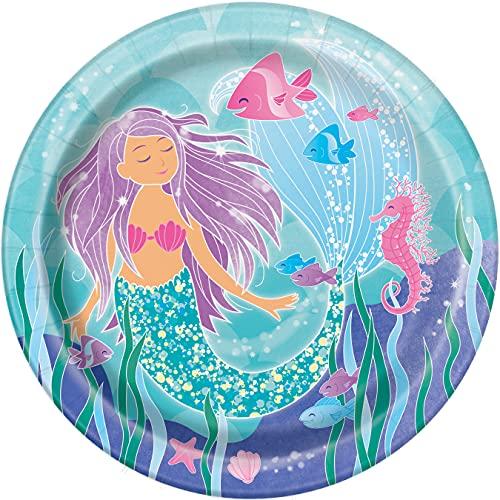 Unique Party- Platos de Papel Ecológicos-23 cm-Fiesta de Sirena-Paquete de 8, Multicolor (58335EU)