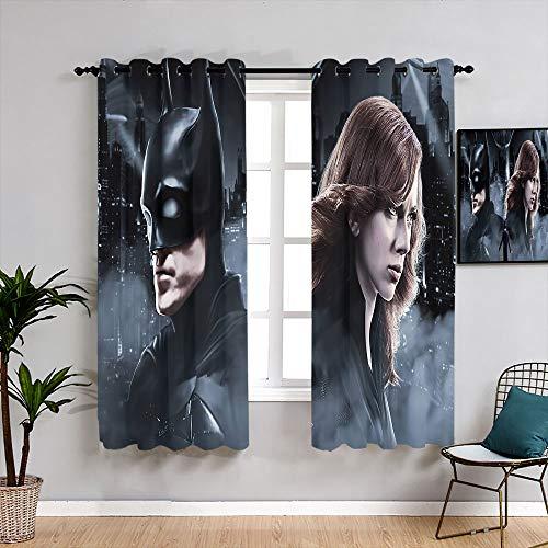 Matt Flowe Batman Black Widow and Joker Cortinas personalizadas Backout Cortina Set de cortina de ventana de tela para decoración de ventanas W84 x L84