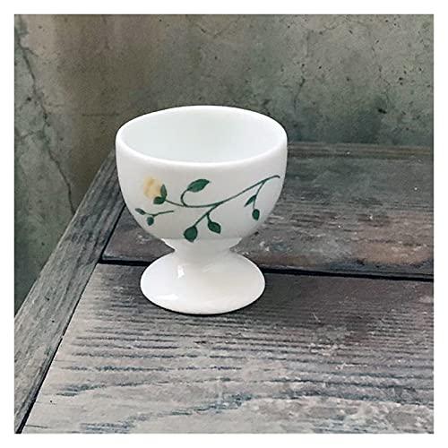 Hueveras Estante de huevos de cerámica, bandeja de huevo floral retro, taza de huevo creativa, práctico tenedor de huevo, bandeja de huevo simple decoración de la cocina casera