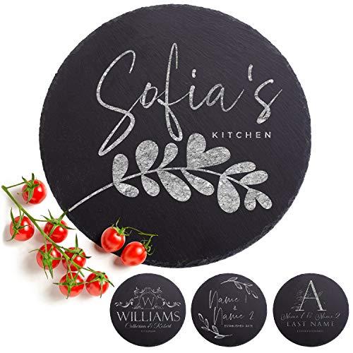 Personalized Cutting Board - 9 Designs, Natural Slate Round Cutting Board - Wedding Gifts for the Couples, Housewarming Gifts, Anniversary Gift for Her, Gift for Parents and Grandma, Kitchen Sign
