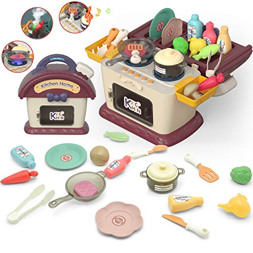 Binken Kids Play Kitchen Picnic Playset Portable Picnic Basket Toys with Musics amp Lights Color Changing Play Food Kitchen Realistic Fog Toys and Pretend Play Oven Kitchen Toys Sets Gift for girls boys