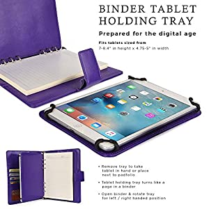 Lava E Tab Connect, Connect+, Velo+, Xtron/+ Case with Notepad, COOPER FOLDERTAB Padfolio Binder Premium Business Left / Right Handed Cover Portfolio Case Planner, Notebook Refill, Pockets (Purple)