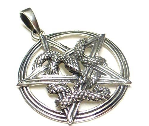 Anhänger Silber, Motiv Pentagramm Schlange, aus 925 Sterlingsilber gearbeitet, Geschenk, Schmuck, Unisex, Schutzsymbol