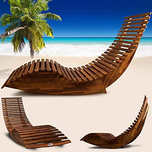 Deuba Schwungliege FSC®-zertifiziertes Akazienholz Ergonomisch Wippfunktion Gartenliege Sonnenliege Relaxliege Saunaliege - 7