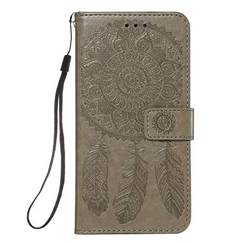 Lijc Compatible con Funda Samsung Galaxy Note 10 Plus 4G/5G PU Cuero Dar La Vuelta Cartera Atrapasueños En Relieve Patrón Caso [Ranura para Tarjetas] [Soporte Plegable] Antigolpes Cubrir-Gris