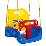 OUTCAMER Columpio Infantil Columpio 3 en 1 con Respaldo y Protección Frontal Desmontable para Seguridad con Cuerda de 2M para Niños (Multicolor)