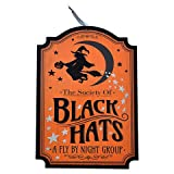Greenbriar International Halloween Society of Black Hats Wooden Wall Hanging Door Decor 9 1/2 x 13 Inches