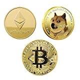 ✅ HIGH QUALITY: The gold Crypto coins made from sturdy metal and gold colored plated to acquire a unique luxurious shine Each coin is constructed using a high-density iron which gives the bitcoin coins its signature weight. Laser etched on BOTH sides...