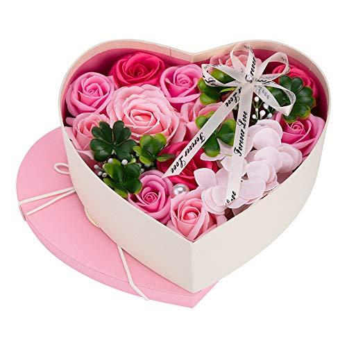 ♥ Materiales de Alta Calidad: Las flores falsas están hechas de jabón y las hojas están hechas de plástico. las rosas se ven muy realistas y se tocan muy suaves y tersas. Cuidado agradable para la piel con un delicado baño de fragancia con aroma a ro...