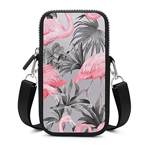 Bolso bandolera con correa extraíble para el hombro, diseño de flamencos vintage y hojas a prueba de sudor para teléfono pulsera cartera gimnasio Fitness Bolsas niñas