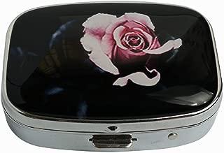 XingBoo Pink Rose Custom Square Silver Western Medicine Tablet Pocket Travel Pill Case Vitamin Glass Decorative Box