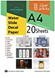 Mixed Waterslide Decal Paper for Inkjet Printer 10 Clear/ 10 White 20 Sheets A4 Size Water Slide Transfer Printable Paper High Resolution DIY Design by Nova Horizon