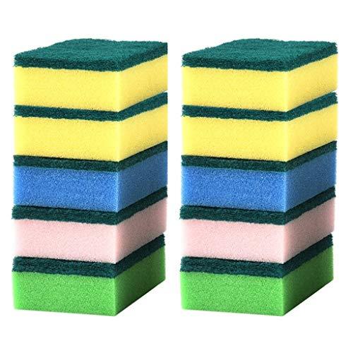 BLRYP - Esponja de limpieza para fregar cuenco, toallita limpiadora, esponja de descontaminación, limpiador mágico para ollas, juego de 10 piezas de cocina, lavado, polvo, limpieza