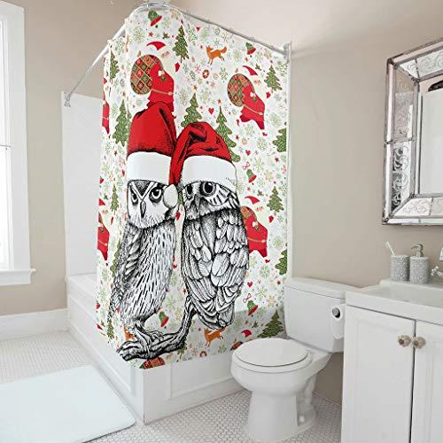 HXshqian Christmas Animal Happy douchegordijn, waterdicht, anti-schimmel stof, hoogwaardige kwaliteit, badkamerdecoraties