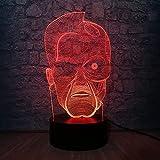 Película terminator hero figura luz de noche 3D luz de ilusión LED 7 cambio de color USB decoración del hogar juguete de cumpleaños regalo 3-12 años niño niña