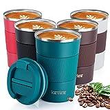 KETIEE Taza de Café,380ml Taza de Viaje Aislada,Taza Térmica Reutilizable,Tazas de Café de Doble Par...
