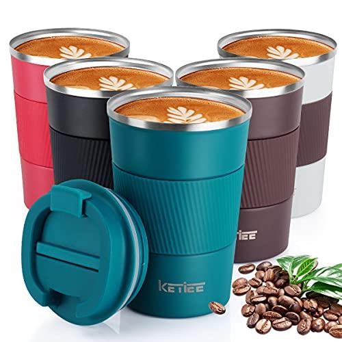 KETIEE Kaffeebecher to go,380ml Thermobecher Edelstahl,Kaffeebecher Thermo,Doppelwandig Reisebecher Travel Mug,Vakuum Isolierbecher mit auslaufsicherem Deckel für Kaffee und Tee,Blau