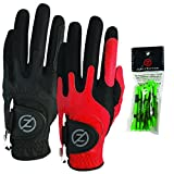Zero Friction Male Men's Compression-Fit Synthetic Golf Glove (2 Pack), Universal Fit Black/Red, One Size