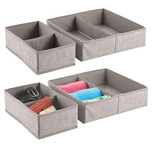 mDesign - Lade-organizer in 4-delige set - voor kledingkasten/ladekasten/kaptafels - voor ondergoed/beha's/sokken - stof - groot - linnen
