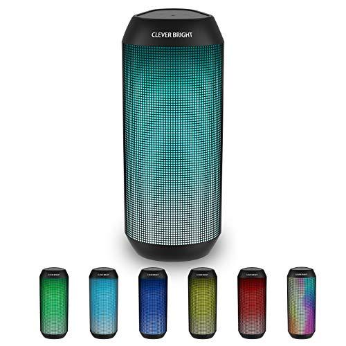 Bluetooth Lautsprecher,Tragbare LED Farbenfroher Bluetooth Kabelloser Lautsprecher Leistungsstarke Sound Kabellose Nachtlicht Bluetooth Lautsprecher mit Mikrofon,AUX Line und Reinem Bass