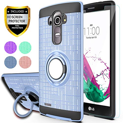 """LG G4 Case, LG G4 Phone Cases with HD Phone Screen Protector,YmhxcY 360 Degree Rotating Ring & Bracket Dual Layer Resistant Back Cover for LG G4 (5.5"""" inch) 2015 Release-ZH Metal Slate"""