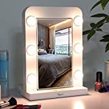 Glynee Hollywood Mirror with Light - LED Large Lighted Makeup Mirror Vanity Makeup Mirror Double Sided 360 Degree Swivel 1X/3X Magnifying Mirror with 3 Colors Lighting Modes Smart Touch