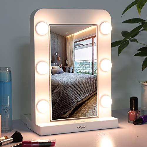 Glynee Schminkspiegel mit Beleuchtung, Hollywood-Spiegel mit Licht dimmable LED Kosmetikspiegel Doppelseitiger 360-Grad-1X / 3X-Vergrößerungsspiegel mit 3 Farbbeleuchtungsmodi und Touch-Steuerung
