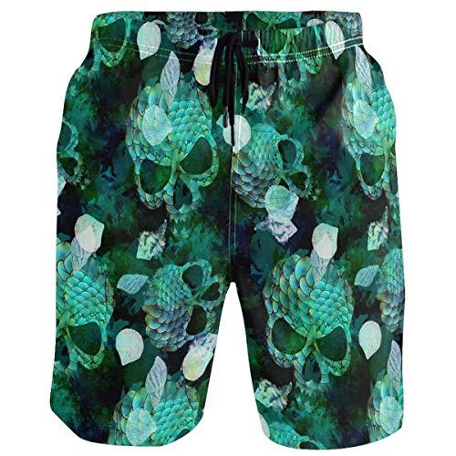 QUEMIN Mermaid Scale Seashell Skull Print Men's Beach Short Hot Summer Swim Trunks Sports Running Bathing Suits,Size L