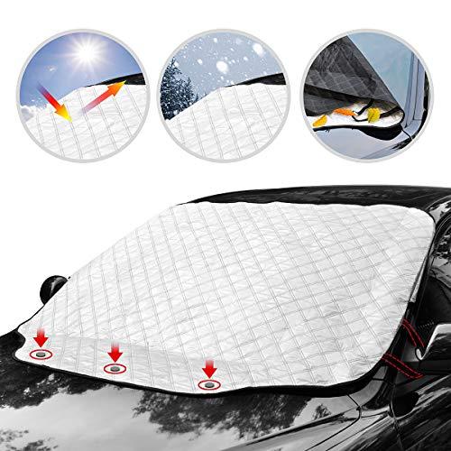 フロントカバー 凍結防止 フロントガラス シート 雪対策 4重厚手撥水構造 強力磁石防風 霜除け 落葉 積雪 カー 車用サンシェード