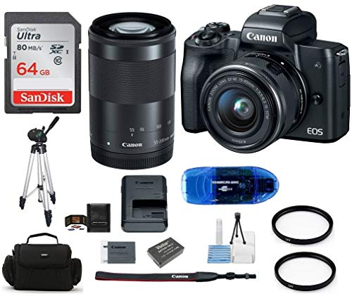 Canon EOS M50 Mirrorless Digital Camera with 15-45mm, 55-200mm Lenses Bundle, Includes 64GB SDXC Class 10 Memory Card, Full Size Tripod, Spare Battery, More (10 Items)